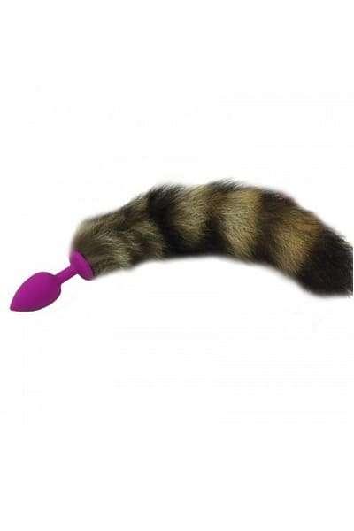 Анальная пробка с хвостиком фиолетовая