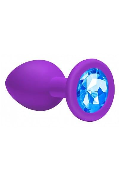 Анальная пробка Emotions Cutie Large фиолетовая с голубым кристаллом